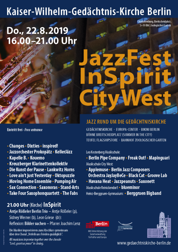 JazzFest InSpirit 2019, Gedächtniskirche Berlin (Plakat)